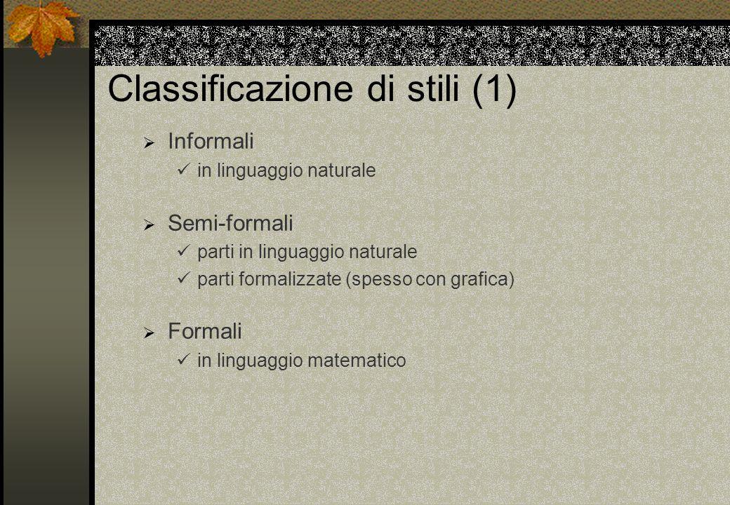 Classificazione di stili (1) Informali in linguaggio naturale Semi-formali parti in linguaggio naturale parti formalizzate (spesso con grafica) Formal