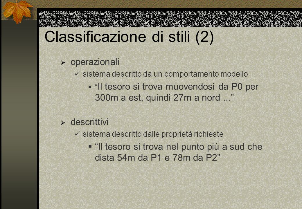 Classificazione di stili (2) operazionali sistema descritto da un comportamento modello Il tesoro si trova muovendosi da P0 per 300m a est, quindi 27m