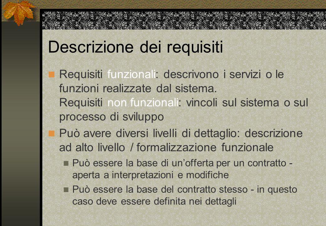Descrizione dei requisiti Requisiti funzionali: descrivono i servizi o le funzioni realizzate dal sistema. Requisiti non funzionali: vincoli sul siste