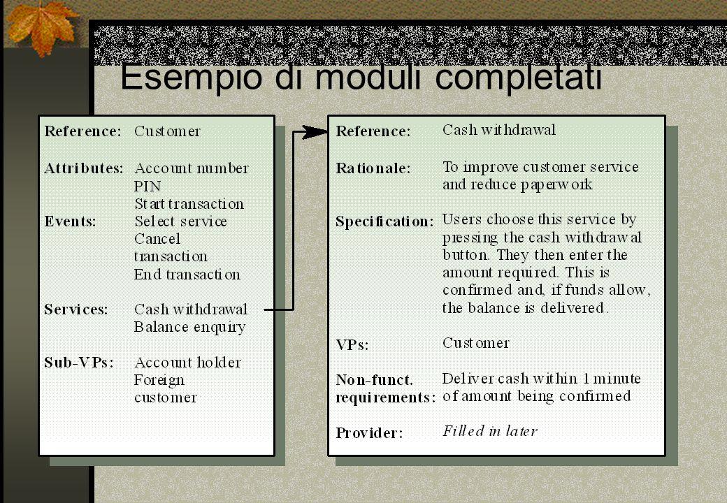 Esempio di moduli completati