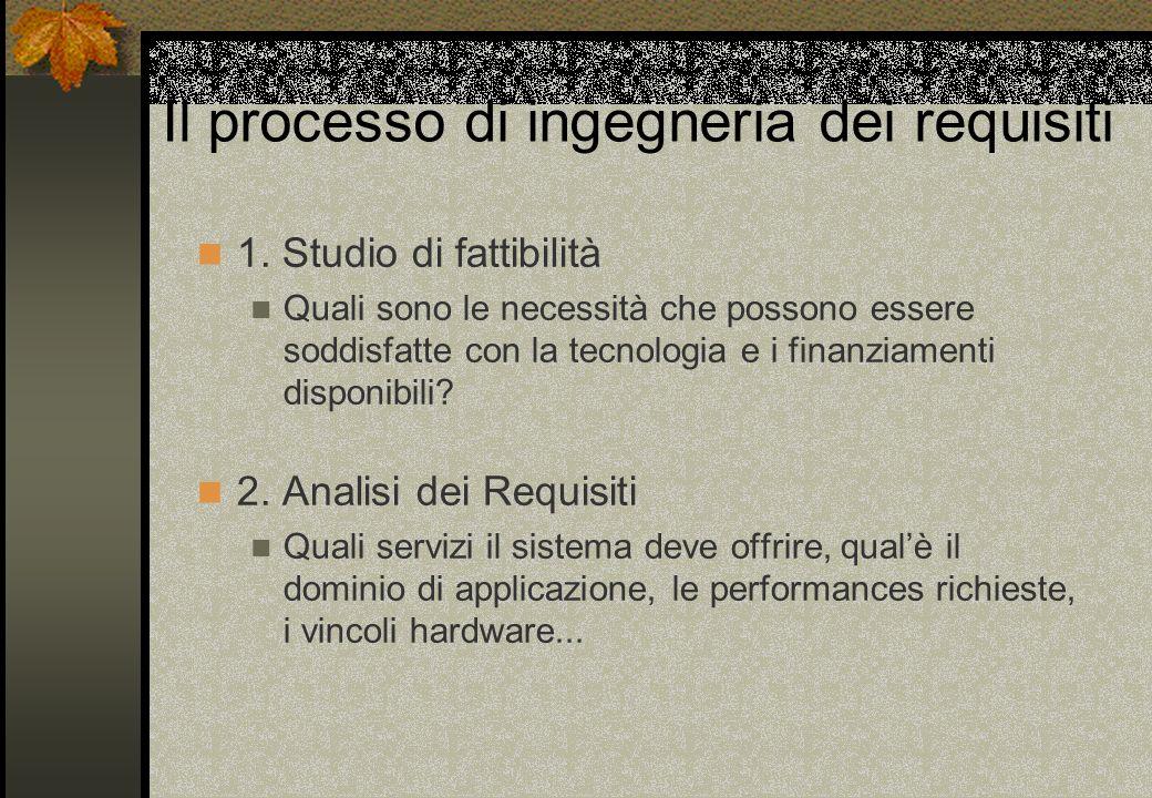 Il processo di ingegneria dei requisiti 1. Studio di fattibilità Quali sono le necessità che possono essere soddisfatte con la tecnologia e i finanzia