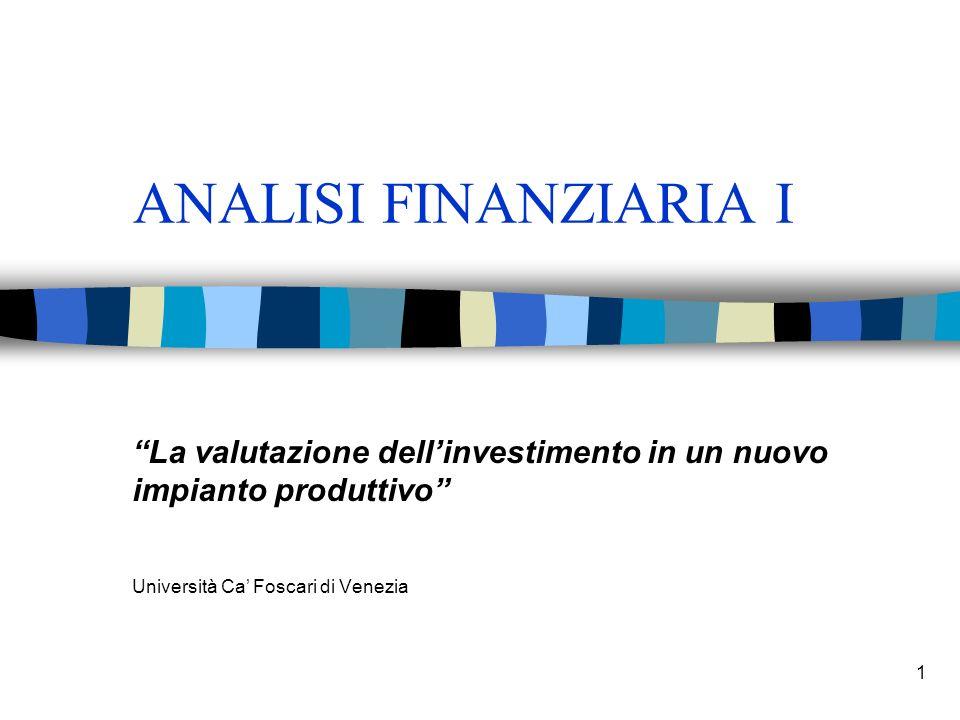 1 ANALISI FINANZIARIA I La valutazione dellinvestimento in un nuovo impianto produttivo Università Ca Foscari di Venezia