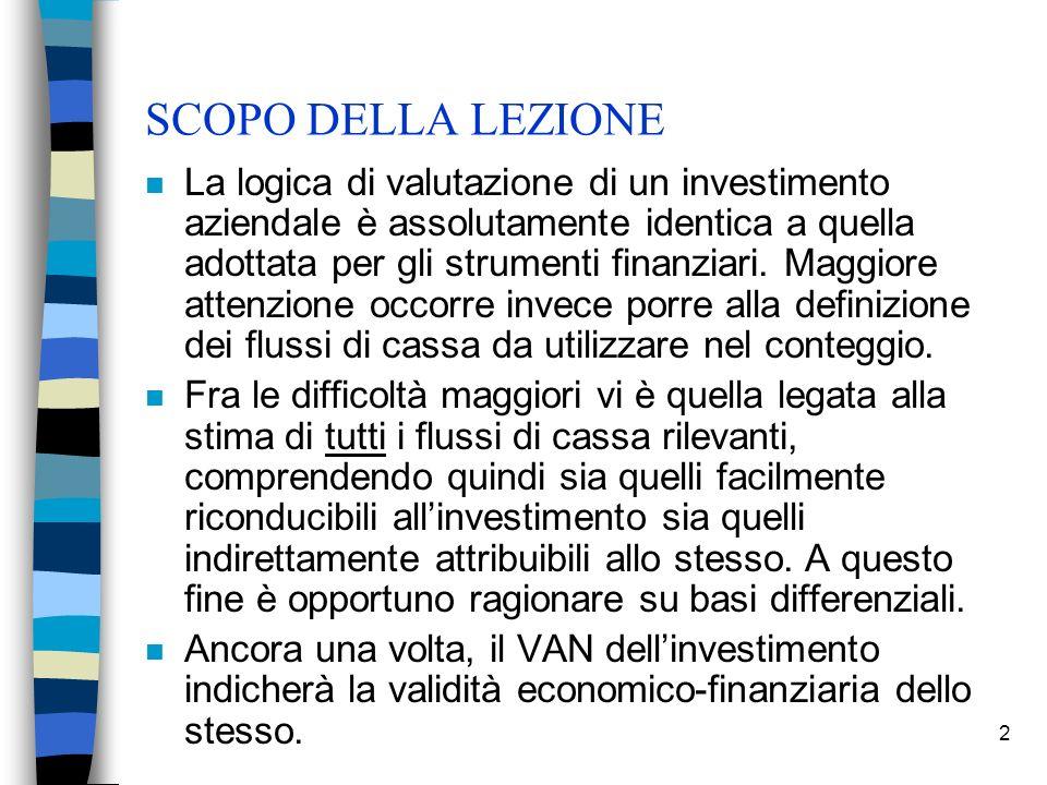 2 SCOPO DELLA LEZIONE n La logica di valutazione di un investimento aziendale è assolutamente identica a quella adottata per gli strumenti finanziari.