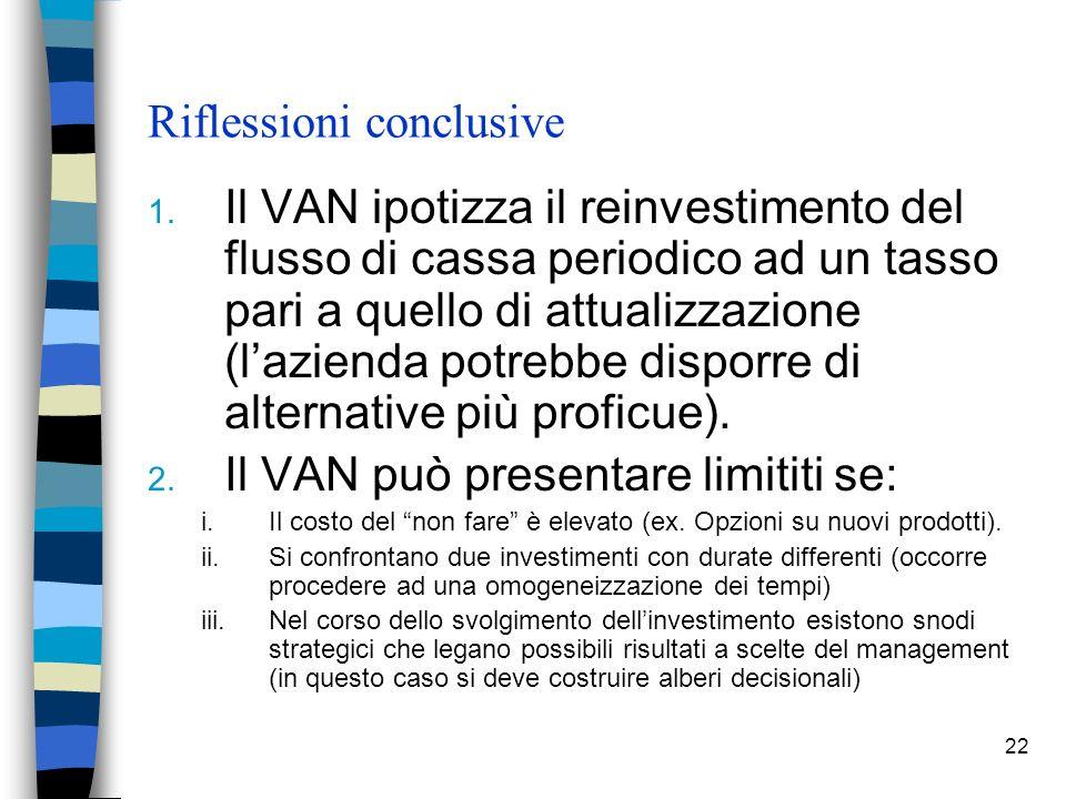 22 Riflessioni conclusive 1. Il VAN ipotizza il reinvestimento del flusso di cassa periodico ad un tasso pari a quello di attualizzazione (lazienda po