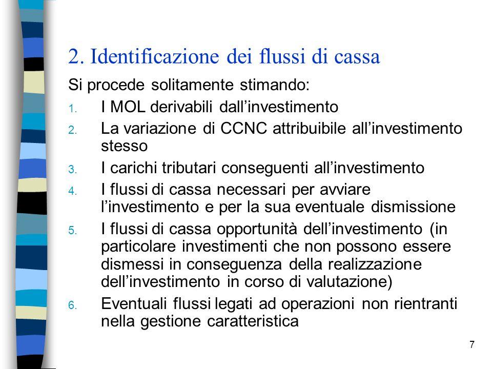 7 2. Identificazione dei flussi di cassa Si procede solitamente stimando: 1. I MOL derivabili dallinvestimento 2. La variazione di CCNC attribuibile a