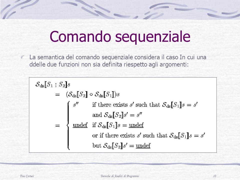 Tino CortesiTecniche di Analisi di Programmi 10 Comando sequenziale La semantica del comando sequenziale considera il caso In cui una ddelle due funzi