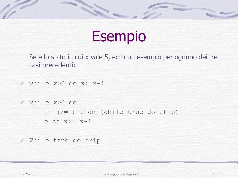 Tino CortesiTecniche di Analisi di Programmi 15 Esempio Se è lo stato in cui x vale 5, ecco un esempio per ognuno dei tre casi precedenti: while x>0 d