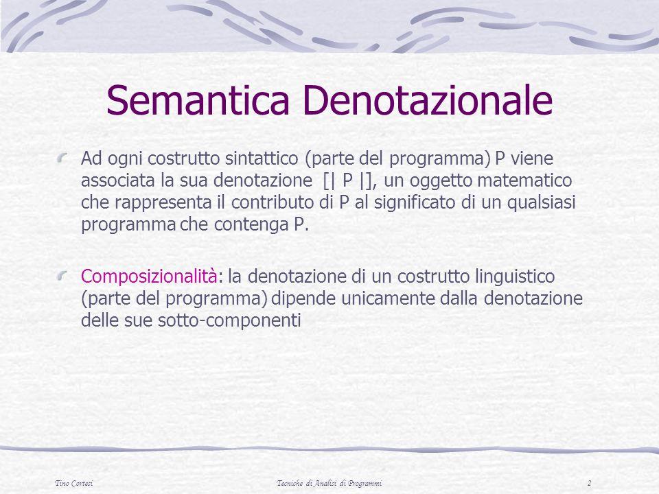 Tino CortesiTecniche di Analisi di Programmi 2 Semantica Denotazionale Ad ogni costrutto sintattico (parte del programma) P viene associata la sua den
