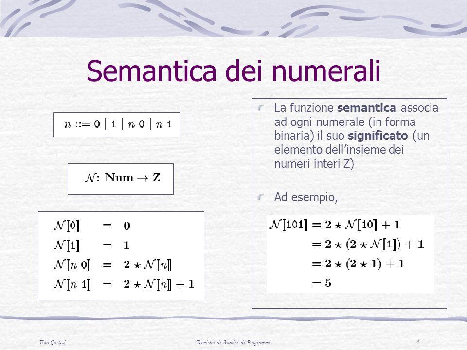 Tino CortesiTecniche di Analisi di Programmi 4 Semantica dei numerali La funzione semantica associa ad ogni numerale (in forma binaria) il suo signifi