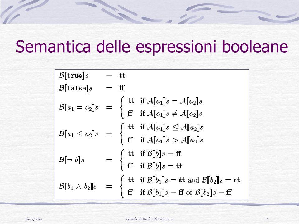 Tino CortesiTecniche di Analisi di Programmi 8 Semantica delle espressioni booleane