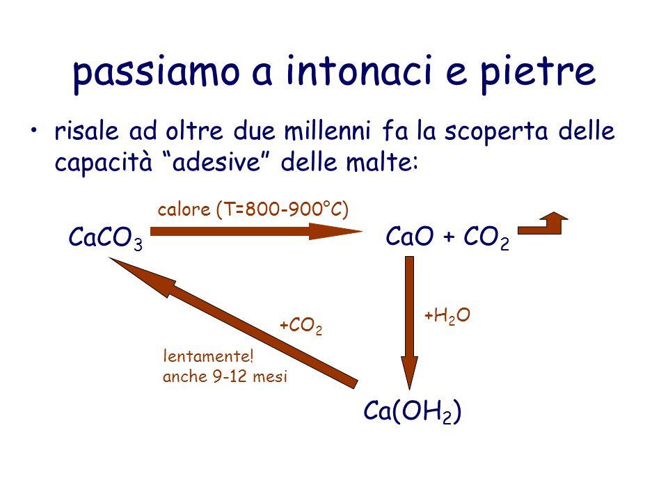 passiamo a intonaci e pietre risale ad oltre due millenni fa la scoperta delle capacità adesive delle malte: CaCO 3 calore (T=800-900°C) CaO + CO 2 +H 2 O Ca(OH 2 ) +CO 2 lentamente.
