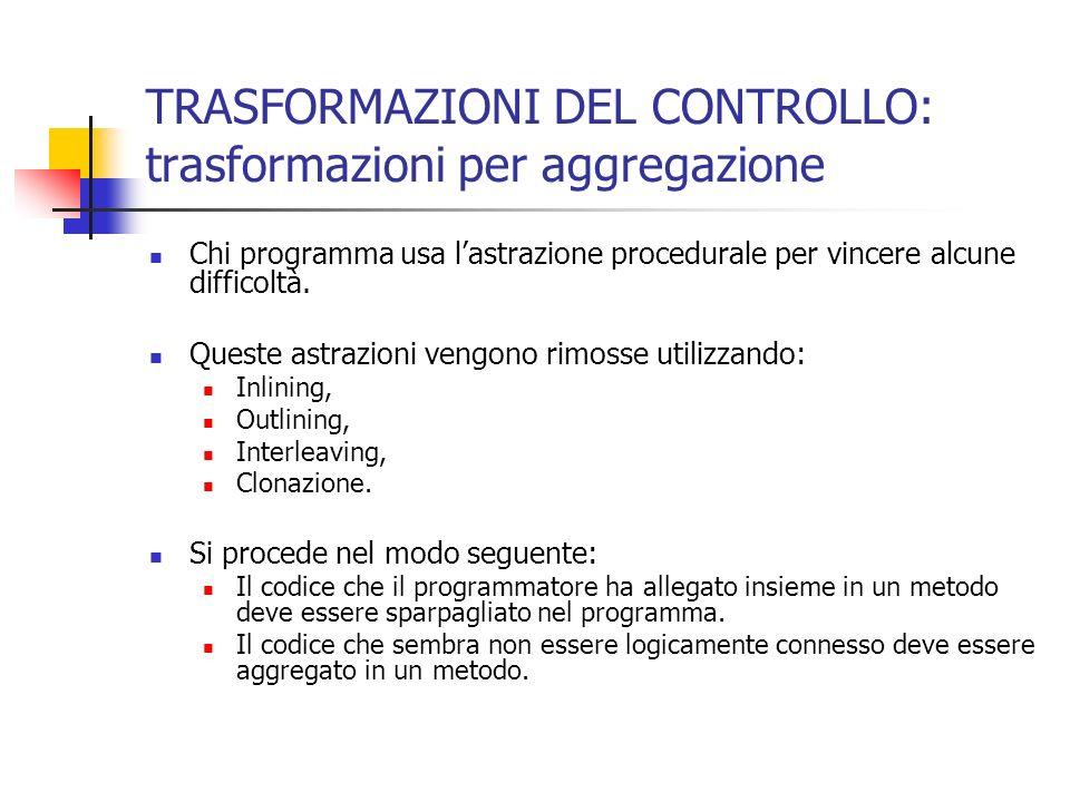 TRASFORMAZIONI DEL CONTROLLO: trasformazioni per aggregazione Chi programma usa lastrazione procedurale per vincere alcune difficoltà.