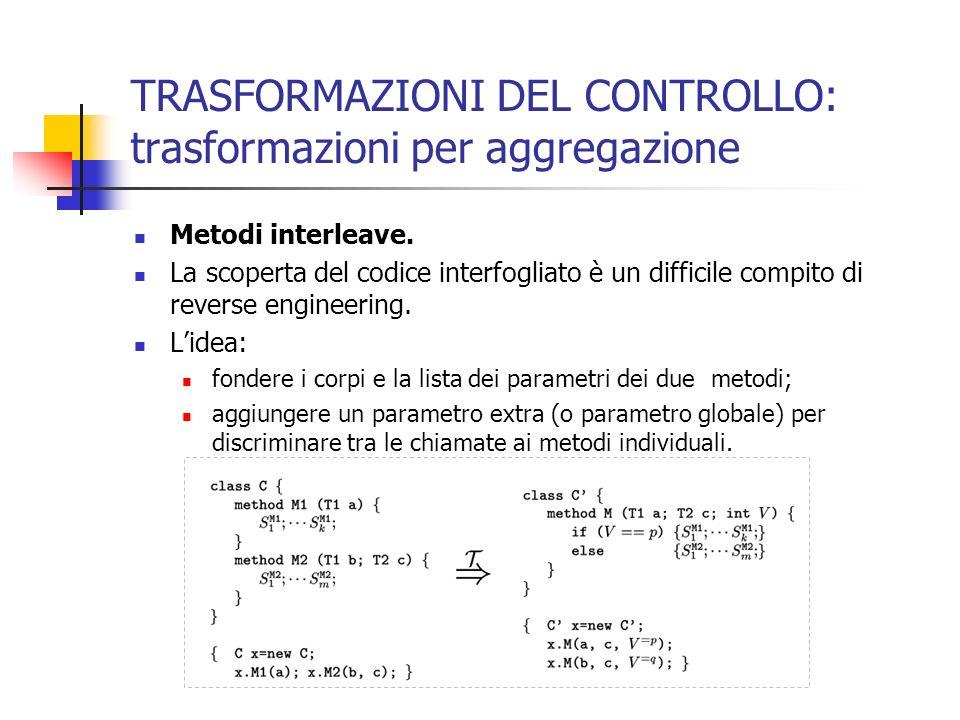 TRASFORMAZIONI DEL CONTROLLO: trasformazioni per aggregazione Metodi interleave.