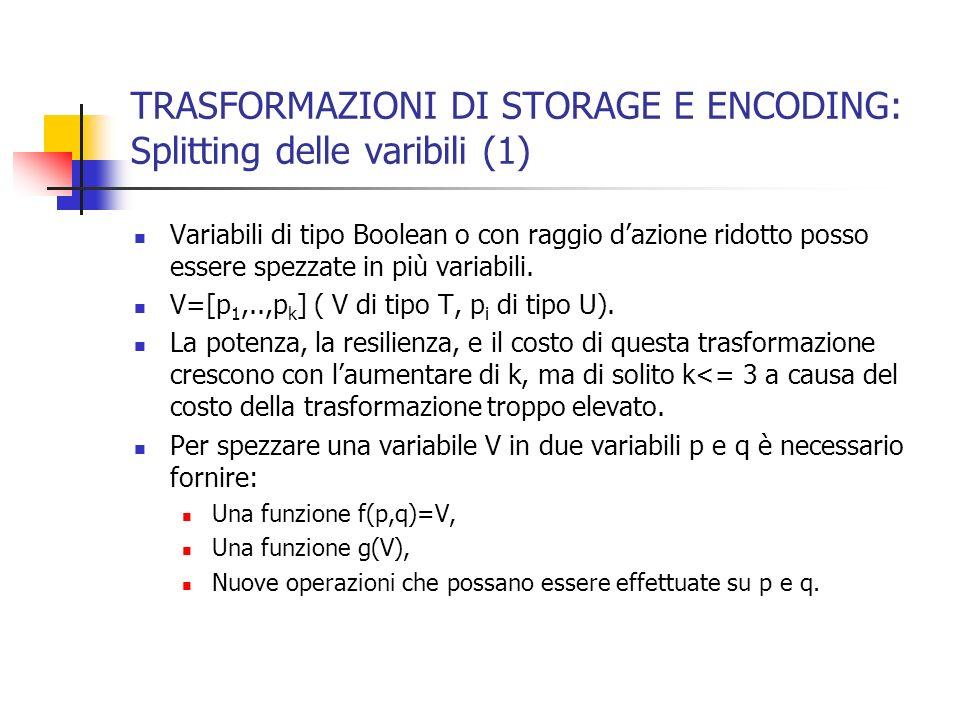TRASFORMAZIONI DI STORAGE E ENCODING: Splitting delle varibili (1) Variabili di tipo Boolean o con raggio dazione ridotto posso essere spezzate in più variabili.