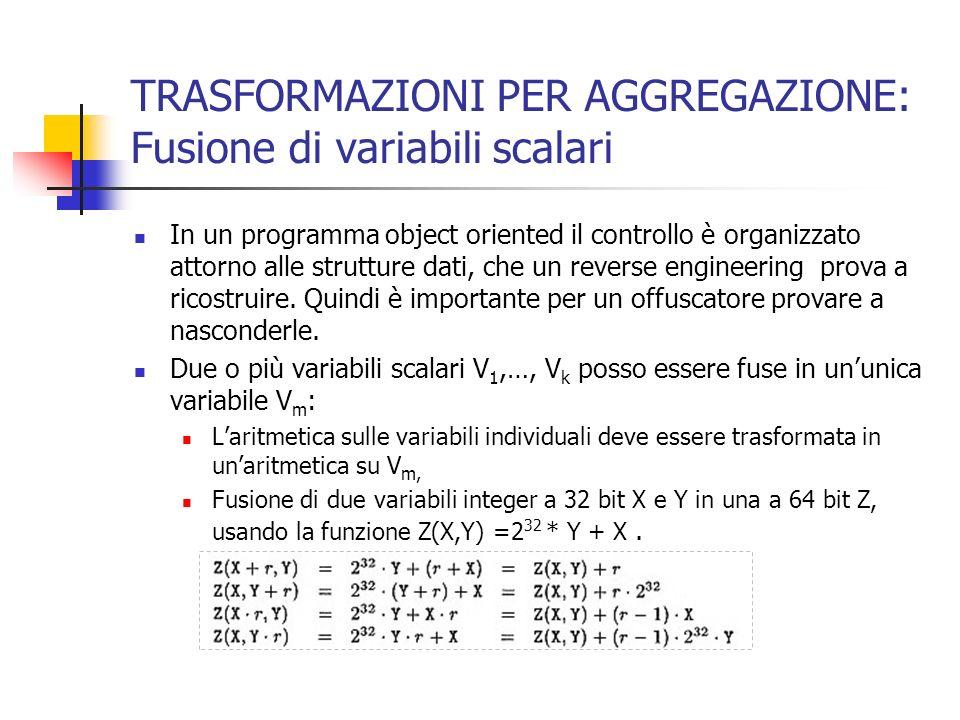 TRASFORMAZIONI PER AGGREGAZIONE: Fusione di variabili scalari In un programma object oriented il controllo è organizzato attorno alle strutture dati, che un reverse engineering prova a ricostruire.