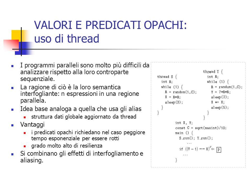 VALORI E PREDICATI OPACHI: uso di thread I programmi paralleli sono molto più difficili da analizzare rispetto alla loro controparte sequenziale.