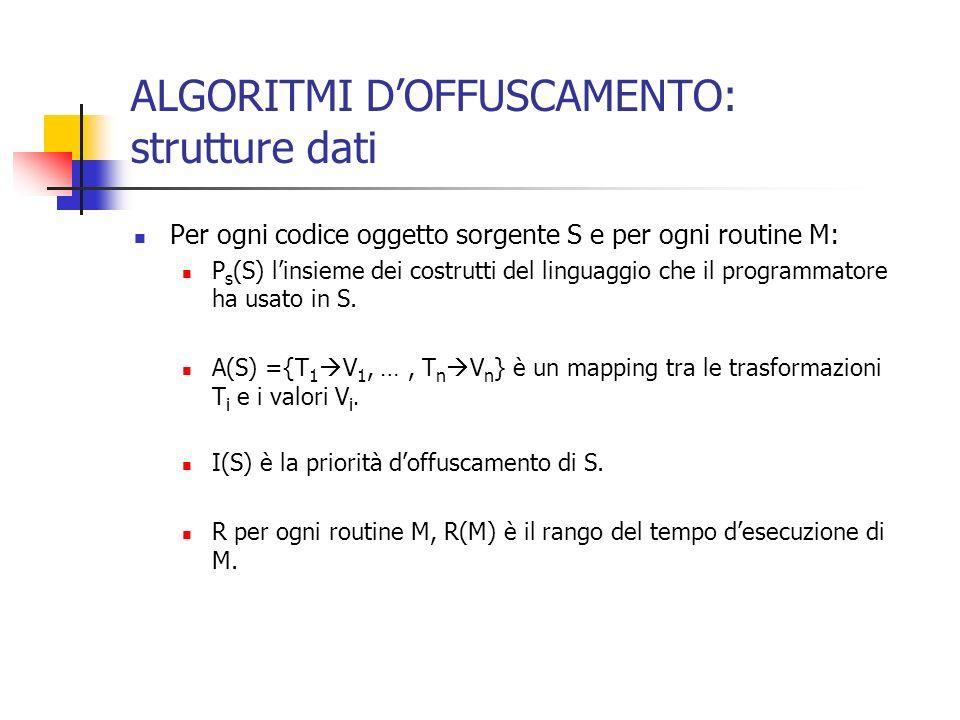 ALGORITMI DOFFUSCAMENTO: strutture dati Per ogni codice oggetto sorgente S e per ogni routine M: P s (S) linsieme dei costrutti del linguaggio che il programmatore ha usato in S.