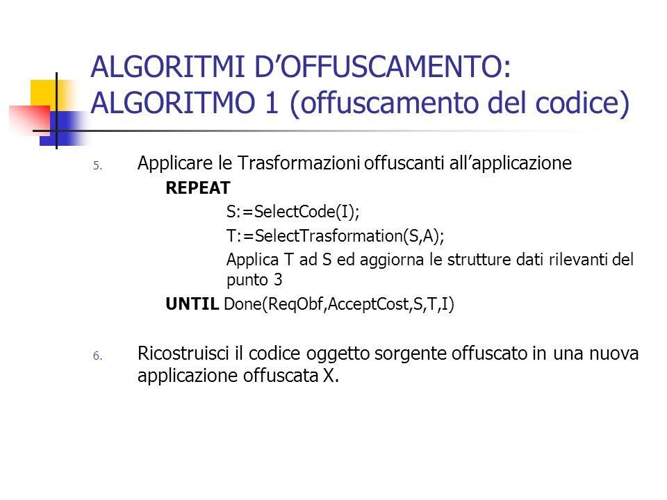 ALGORITMI DOFFUSCAMENTO: ALGORITMO 1 (offuscamento del codice) 5.