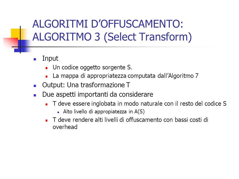 ALGORITMI DOFFUSCAMENTO: ALGORITMO 3 (Select Transform) Input Un codice oggetto sorgente S.