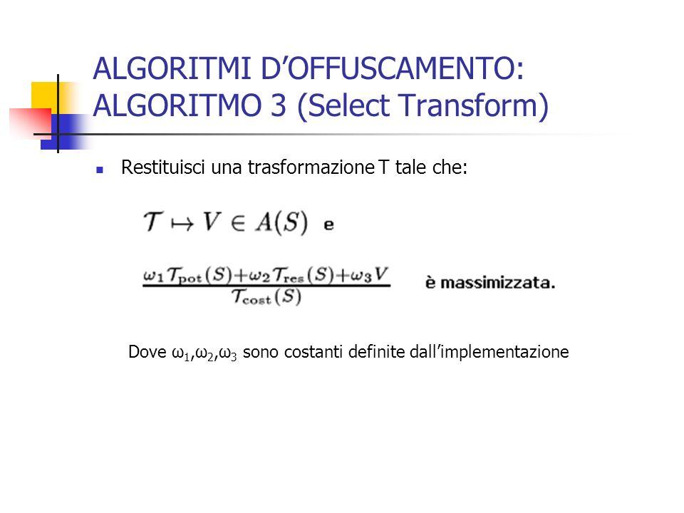 ALGORITMI DOFFUSCAMENTO: ALGORITMO 3 (Select Transform) Restituisci una trasformazione T tale che: Dove ω 1,ω 2,ω 3 sono costanti definite dallimplementazione