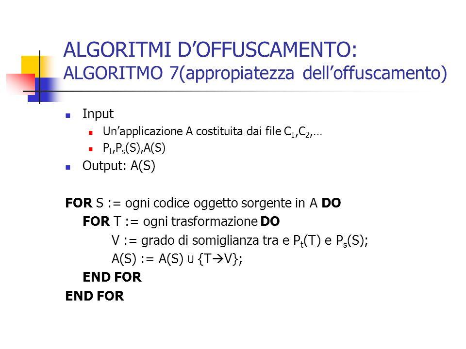 ALGORITMI DOFFUSCAMENTO: ALGORITMO 7(appropiatezza delloffuscamento) Input Unapplicazione A costituita dai file C 1,C 2,… P t,P s (S),A(S) Output: A(S) FOR S := ogni codice oggetto sorgente in A DO FOR T := ogni trasformazione DO V := grado di somiglianza tra e P t (T) e P s (S); A(S) := A(S) U {T V}; END FOR