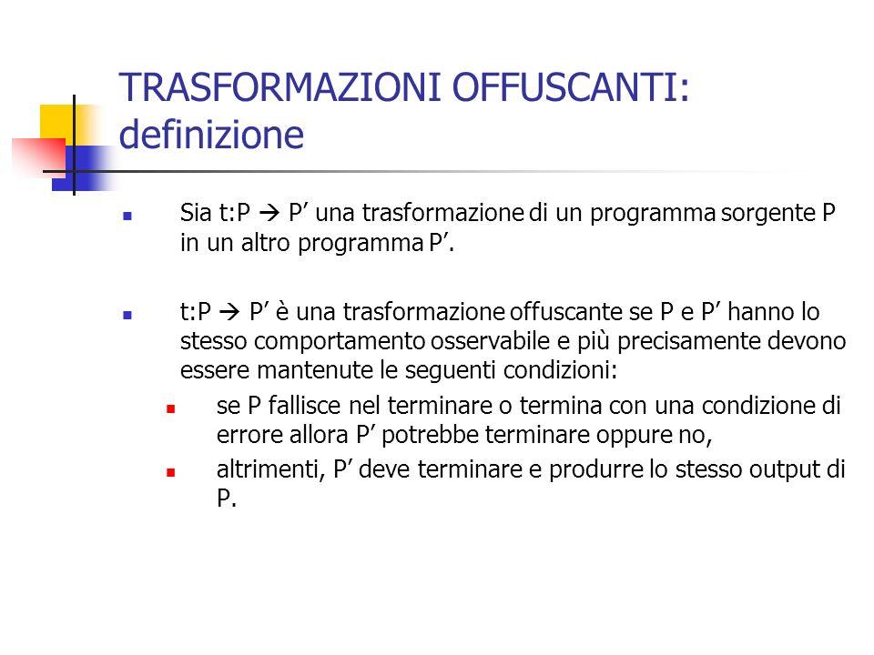 TRASFORMAZIONI OFFUSCANTI: definizione Sia t:P P una trasformazione di un programma sorgente P in un altro programma P.