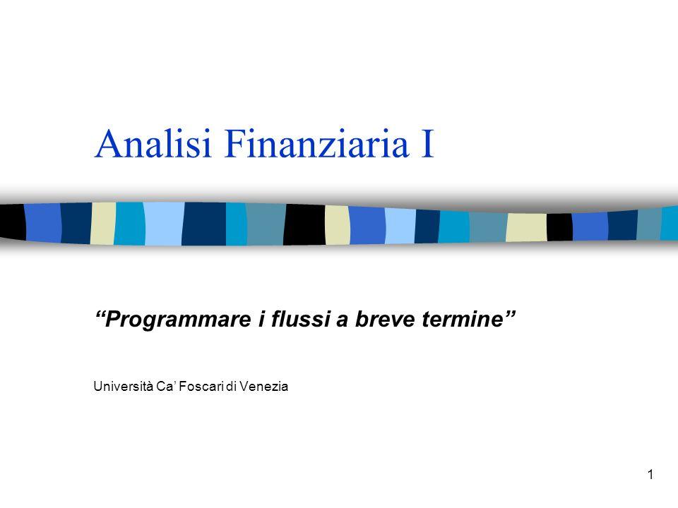 1 Analisi Finanziaria I Programmare i flussi a breve termine Università Ca Foscari di Venezia
