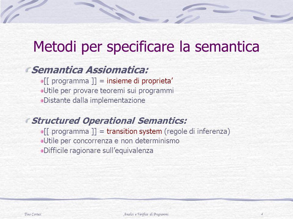 Tino CortesiAnalisi e Verifica di Programmi 15 Semantica delle Espressioni