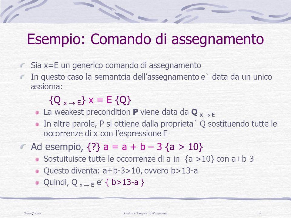 Tino CortesiAnalisi e Verifica di Programmi 9 Esempio: comando di selezione Consideriamo il comando if-then-else La regola di inferenza e Esempio {?} if ( x > 0 ) then y = y - 5 else y = y + 3 { y > 0 } Le precondizioni per S2 sono { x -3 } Le precodizioni per S1 sono { x > 0 } e {y > 5 } Chi e allora P .