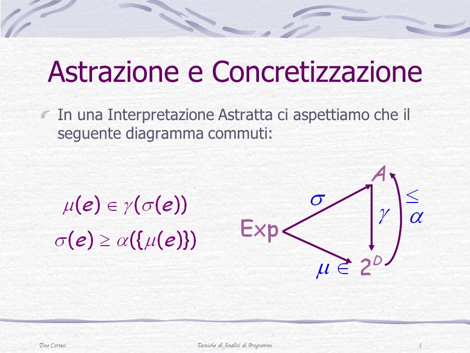 Tino CortesiTecniche di Analisi di Programmi 1 Astrazione e Concretizzazione In una Interpretazione Astratta ci aspettiamo che il seguente diagramma commuti: