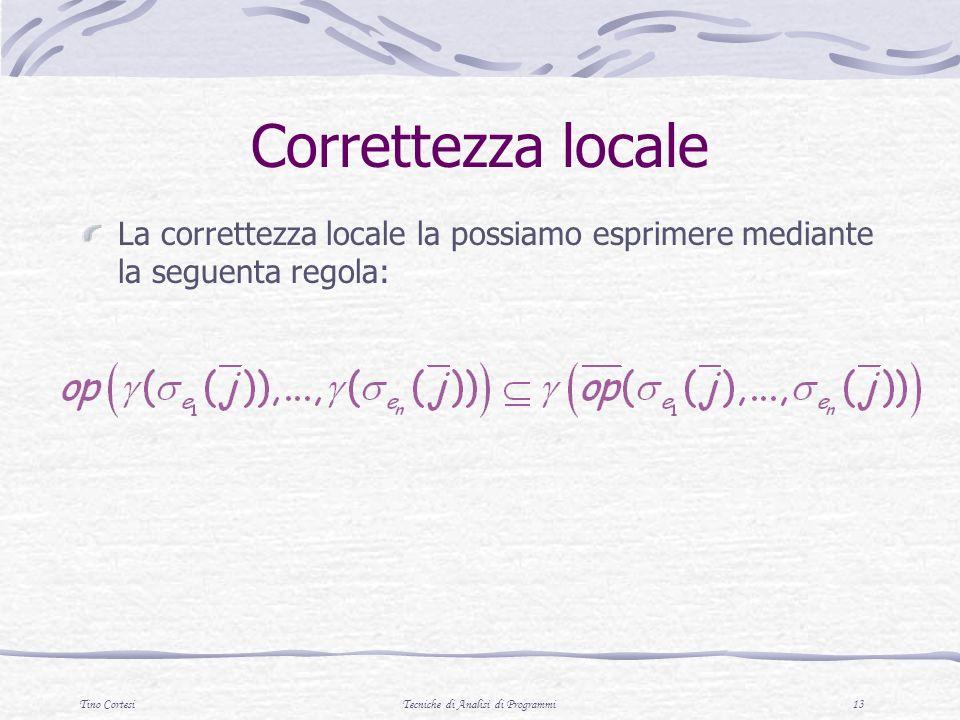 Tino CortesiTecniche di Analisi di Programmi 13 Correttezza locale La correttezza locale la possiamo esprimere mediante la seguenta regola:
