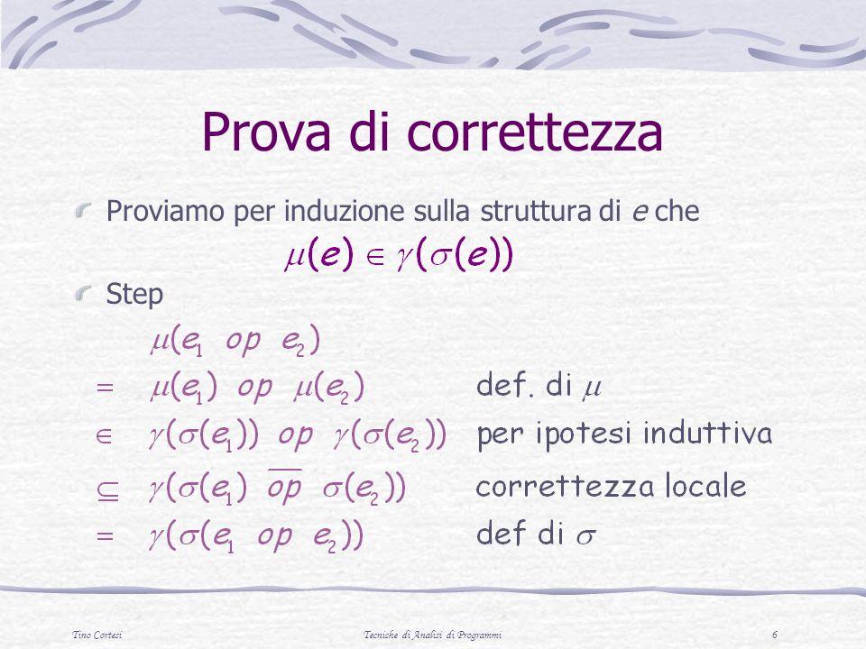 Tino CortesiTecniche di Analisi di Programmi 7 Correttezza Possiamo definire la correttezza utilizzando lastrazione al posto della concretizzazione: