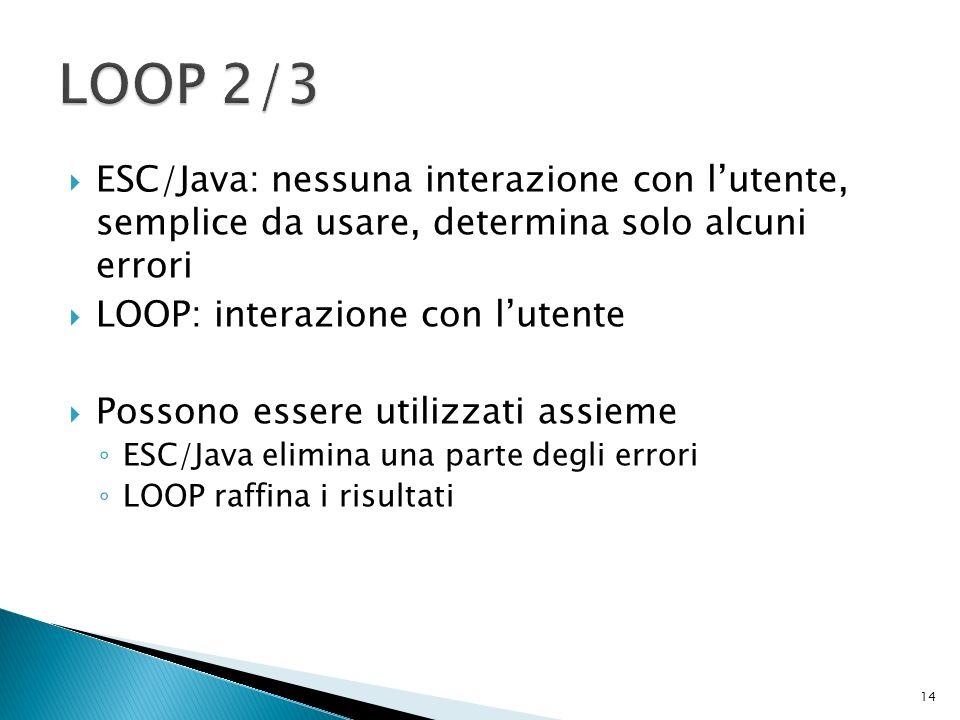 ESC/Java: nessuna interazione con lutente, semplice da usare, determina solo alcuni errori LOOP: interazione con lutente Possono essere utilizzati assieme ESC/Java elimina una parte degli errori LOOP raffina i risultati 14