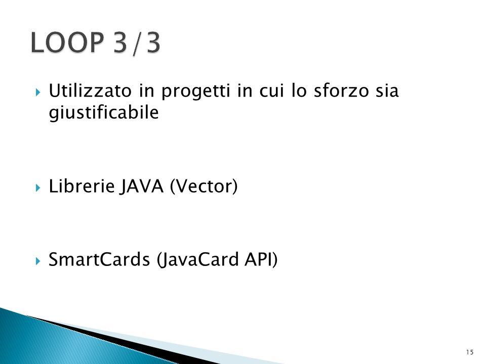 Utilizzato in progetti in cui lo sforzo sia giustificabile Librerie JAVA (Vector) SmartCards (JavaCard API) 15