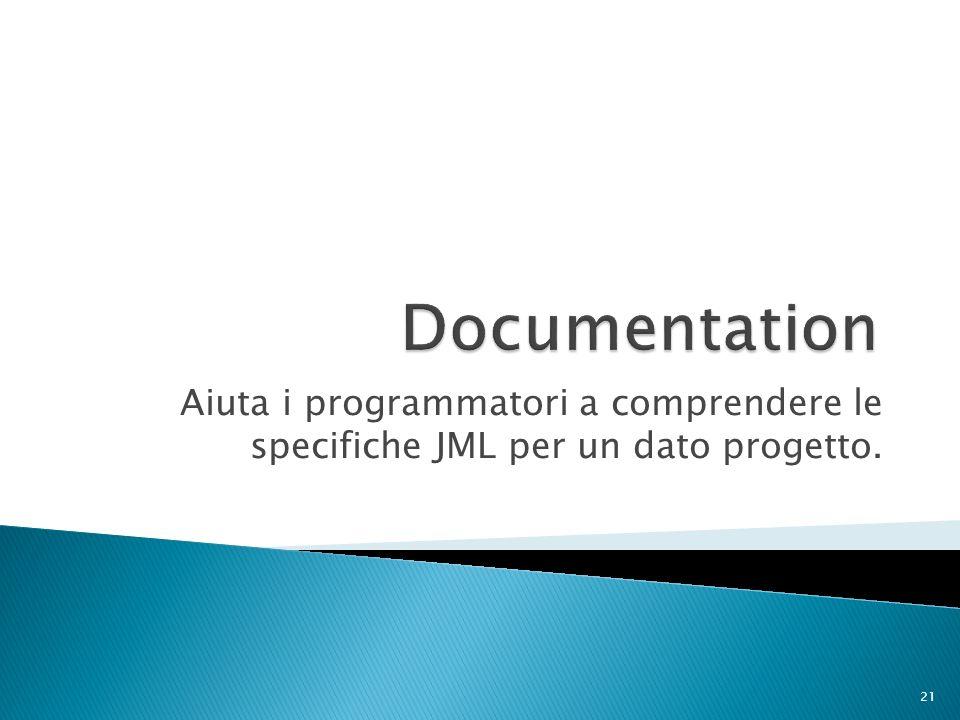 Aiuta i programmatori a comprendere le specifiche JML per un dato progetto. 21