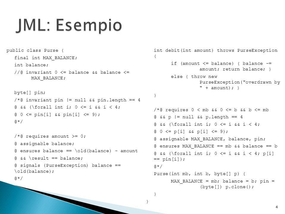 Generating Specification: la generazione di specifiche JML può non essere sempre facile, specie se fatta in fase post-development Daikon: genera annotazioni per un programma non annotato Houdini: annota un programma e fornisce i warning testati da ESC/Java 25