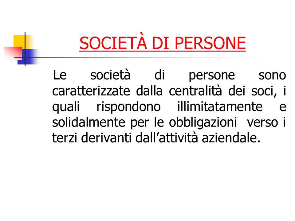 SOCIETÀ DI PERSONE Le società di persone sono caratterizzate dalla centralità dei soci, i quali rispondono illimitatamente e solidalmente per le obbligazioni verso i terzi derivanti dallattività aziendale.
