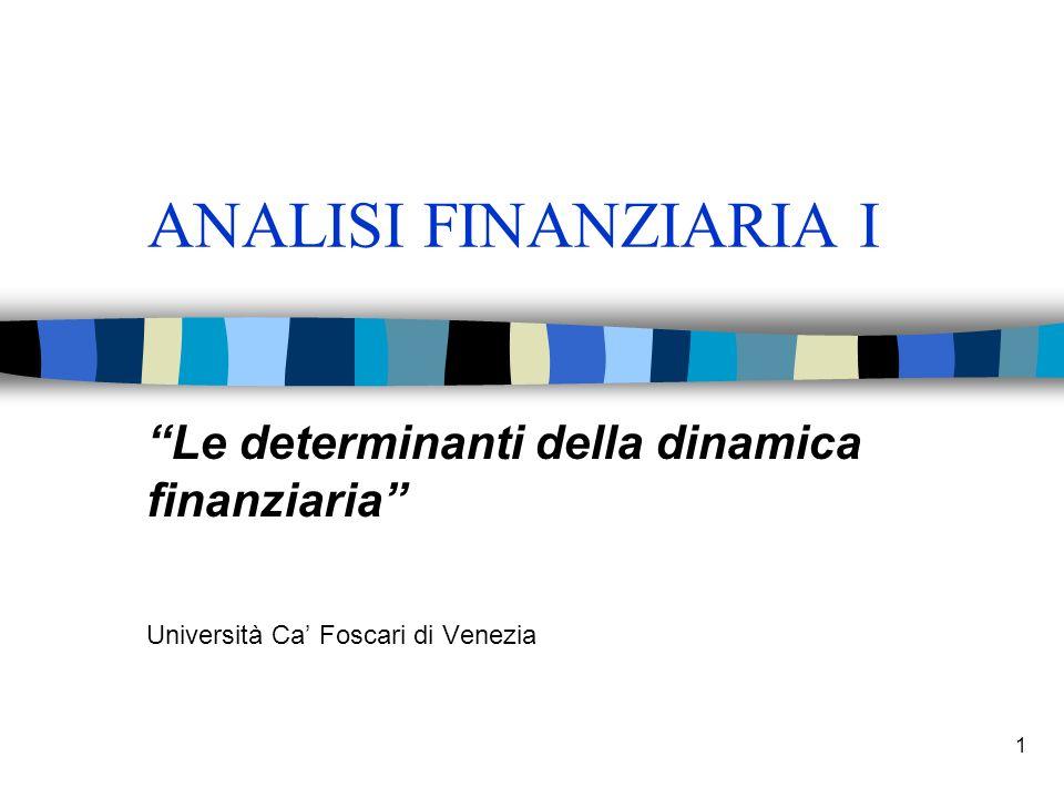 1 ANALISI FINANZIARIA I Le determinanti della dinamica finanziaria Università Ca Foscari di Venezia