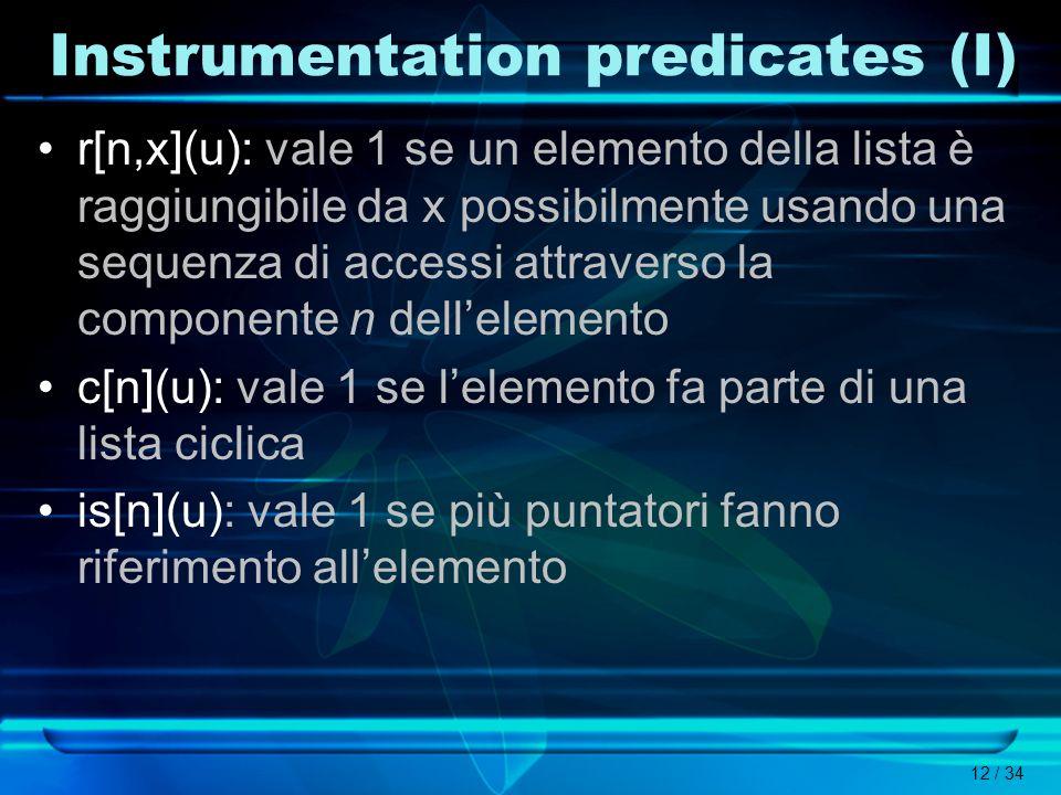 12 / 34 Instrumentation predicates (I) r[n,x](u): vale 1 se un elemento della lista è raggiungibile da x possibilmente usando una sequenza di accessi