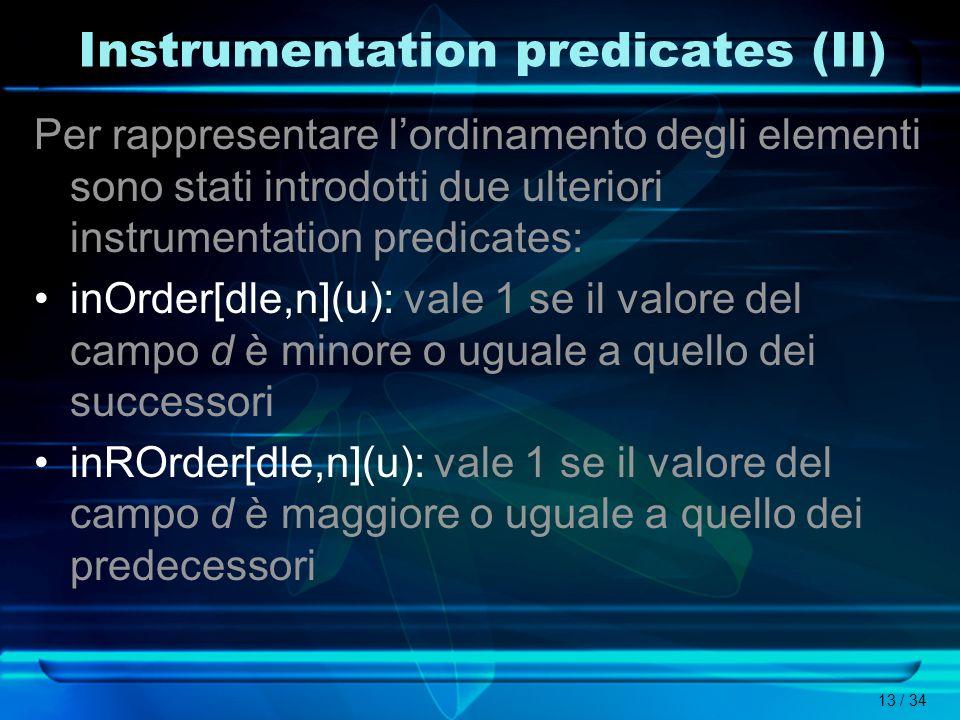 13 / 34 Instrumentation predicates (II) Per rappresentare lordinamento degli elementi sono stati introdotti due ulteriori instrumentation predicates:
