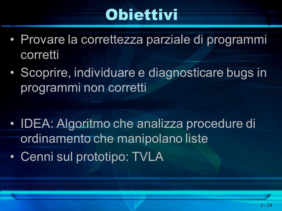 2 / 34 Obiettivi Provare la correttezza parziale di programmi corretti Scoprire, individuare e diagnosticare bugs in programmi non corretti IDEA: Algo
