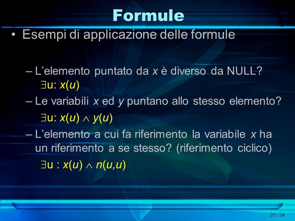 20 / 34 Esempi di applicazione delle formule –Lelemento puntato da x è diverso da NULL? u: x(u) –Le variabili x ed y puntano allo stesso elemento? u: