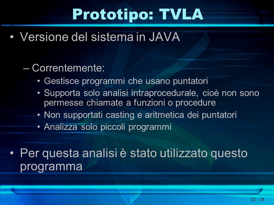 32 / 34 Prototipo: TVLA Versione del sistema in JAVA –Correntemente: Gestisce programmi che usano puntatori Supporta solo analisi intraprocedurale, ci