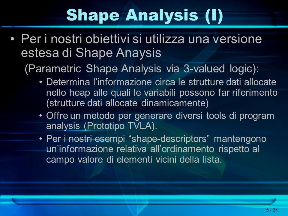 5 / 34 Shape Analysis (I) Per i nostri obiettivi si utilizza una versione estesa di Shape Anaysis (Parametric Shape Analysis via 3-valued logic): Dete