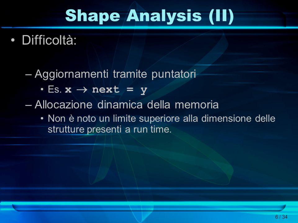 6 / 34 Shape Analysis (II) Difficoltà: –Aggiornamenti tramite puntatori Es. x next = y –Allocazione dinamica della memoria Non è noto un limite superi