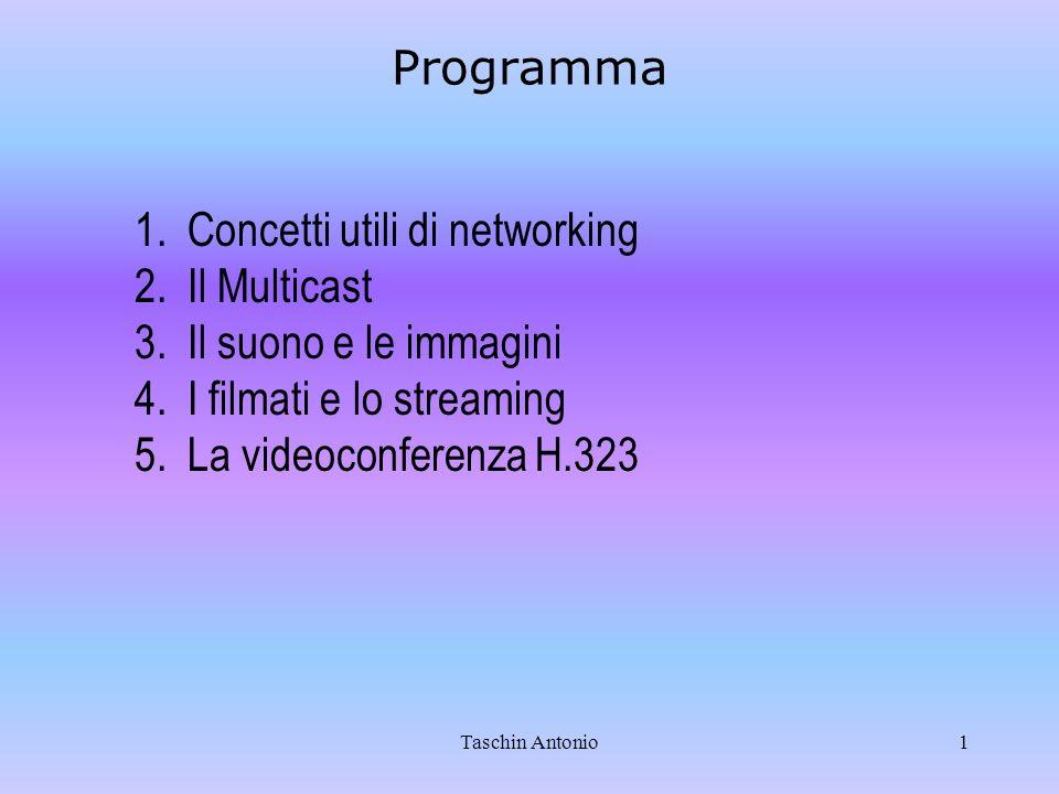 Taschin Antonio1 Programma 1.Concetti utili di networking 2.Il Multicast 3.Il suono e le immagini 4.I filmati e lo streaming 5.La videoconferenza H.32