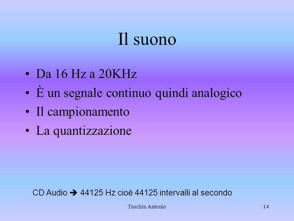 Taschin Antonio14 Il suono Da 16 Hz a 20KHz È un segnale continuo quindi analogico Il campionamento La quantizzazione CD Audio 44125 Hz cioè 44125 int
