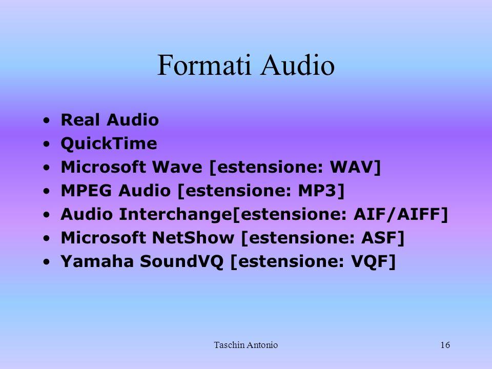 Taschin Antonio16 Formati Audio Real Audio QuickTime Microsoft Wave [estensione: WAV] MPEG Audio [estensione: MP3] Audio Interchange[estensione: AIF/A