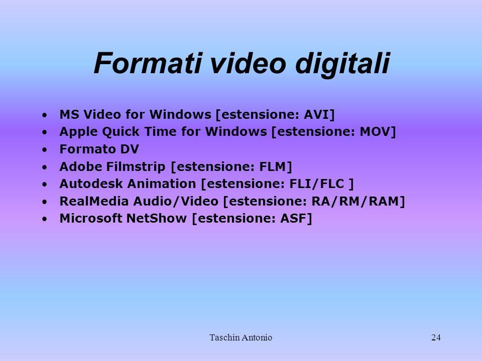 Taschin Antonio24 Formati video digitali MS Video for Windows [estensione: AVI] Apple Quick Time for Windows [estensione: MOV] Formato DV Adobe Filmst