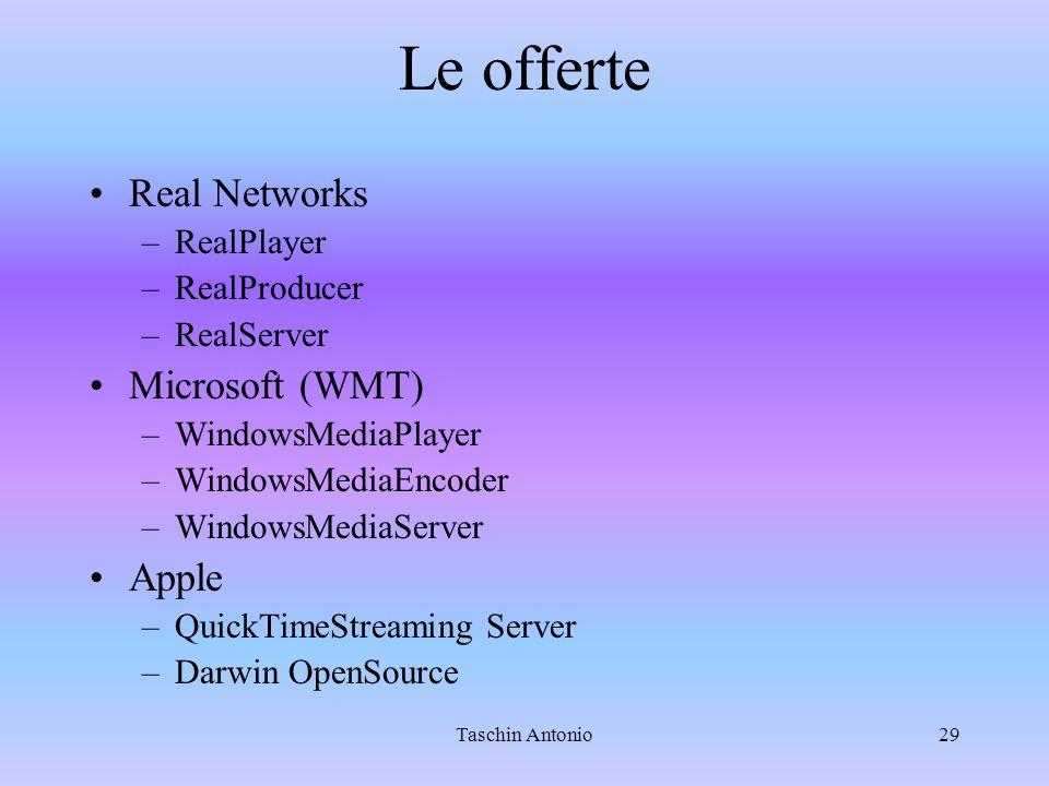 Taschin Antonio29 Le offerte Real Networks –RealPlayer –RealProducer –RealServer Microsoft (WMT) –WindowsMediaPlayer –WindowsMediaEncoder –WindowsMediaServer Apple –QuickTimeStreaming Server –Darwin OpenSource